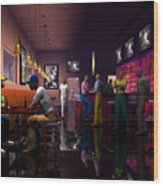The Sport's Bar Wood Print by Walter Oliver Neal
