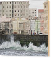 The Spume At Malecon Wood Print