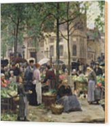 The Square In Front Of Les Halles Wood Print by Victor Gabriel Gilbert