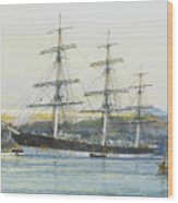 The Square-rigged Australian Clipper Old Kensington Lying On Her Mooring Wood Print