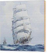 The Square-rigged Wool Clipper Argonaut Under Full Sail Wood Print