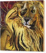 The Squinting Lion Wood Print