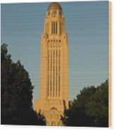 The State Capitol Building In Lincoln Wood Print