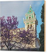The Steeple Of The Valldemossa Charterhouse In Spring Wood Print