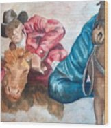 The Steer Wrestler Wood Print