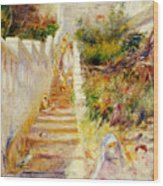 The Steps In Algiers Wood Print by Pierre Auguste Renoir