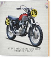 The Steve Mcqueen Isdt Motorcycle 1964 Wood Print