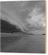 The Storm Rolling In To Good Harbor Beach Gloucester Ma Black And White Wood Print
