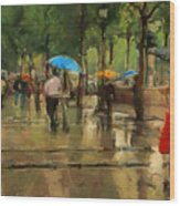 The Streets Of Paris In The Rain Wood Print