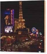 The Strip At Night 2 Wood Print