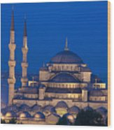 The Sultanahmet Or Blue Mosque At Dusk Wood Print