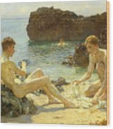 The Sun Bathers Wood Print by Henry Scott Tuke