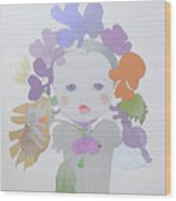 The Sun Flower Child Fairy Wood Print