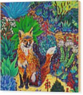 The Sun Fox Wood Print