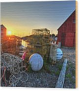 The Sun Rising By Motif 1 In Rockport Ma Bearskin Neck Lobster Traps Wood Print