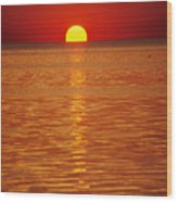The Sun Sinks Into Pamlico Sound Seen Wood Print