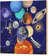 The Sunflower Solar System Wood Print