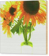 The Sunflowers In A Glass Vase. Wood Print