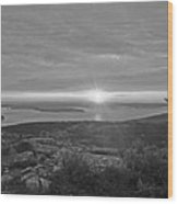 The Sunrise From Cadillac Mountain In Acadia National Park Black And White Wood Print