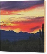 Sunrise In Tucson  Wood Print