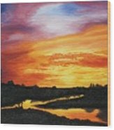 The Sun's Last Kiss On The Hill Country Wood Print
