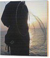 The Sunset Fisherman Wood Print