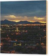 The Sunset From Popago Park Phoenix Arizona Az Golden Wood Print