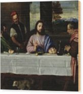 The Supper At Emmaus Wood Print by Titian