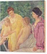 The Swim Or Two Mothers And Their Children On A Boat Wood Print