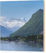 The Swiss Alps Overlooking Lake Geneva Wood Print