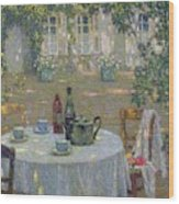 The Table In The Sun In The Garden Wood Print by Henri Le Sidaner