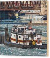 The Tanner On The Icy River Wood Print
