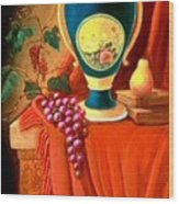 The Teal Vase On A Red Cloth Wood Print