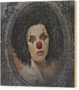 The Tearful Clown Wood Print