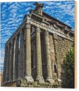 The Temple Of Antoninus And Faustina Wood Print