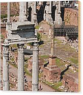 The Temple Of Castor And Pollux At The Forum From The Palatine Wood Print