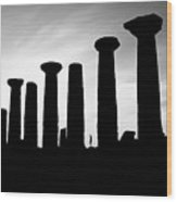 The Temple Of Hercules. Agrigento, Sicily.    Black And White Wood Print