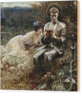 The Temptation Of Sir Percival Wood Print by Arthur Hacker