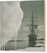 The Terra Nova At The Ice Foot Cape Evans Wood Print