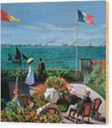 The Terrace At Sainte Adresse Wood Print