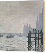 The Thames Below Westminster Wood Print by Claude Monet