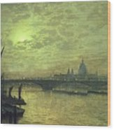The Thames By Moonlight With Southwark Bridge Wood Print