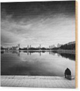 The Thinker And The Lake Wood Print