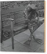 The Thinking Frog Wood Print