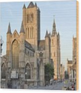 The Three Towers Of Gent Wood Print by Marilyn Dunlap