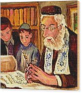 The Torah Scribe Wood Print
