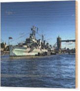 The Tower Hms Belfast And Tower Bridge Wood Print