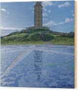 The Tower Of Hercules And The Rose Of The Winds Wood Print