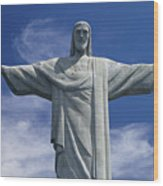 The Towering Statue Of Christ Wood Print
