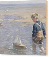 The Toy Boat Wood Print by William Marshall Brown